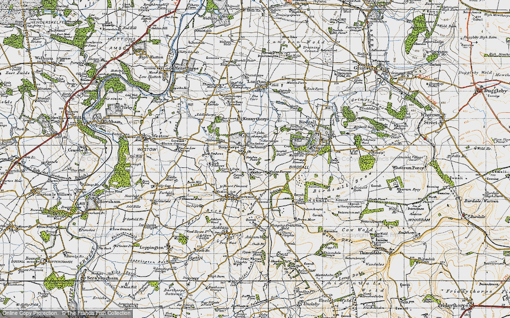 Old Map of Historic Map covering Langhill Plantn in 1947