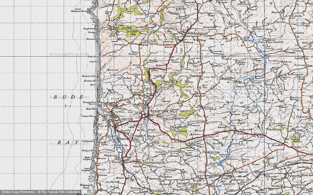Old Map of Historic Map covering Leigh in 1946