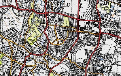 Old map of Bush Hill Park in 1946