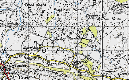 Old map of Wytch Heath in 1940