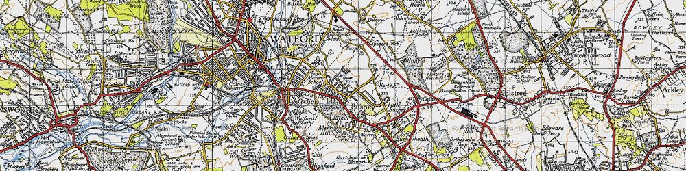 Old map of Bushey in 1946