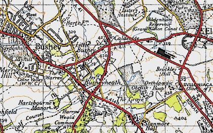 Old map of Bushey Heath in 1946
