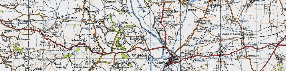 Old map of Bushley in 1947