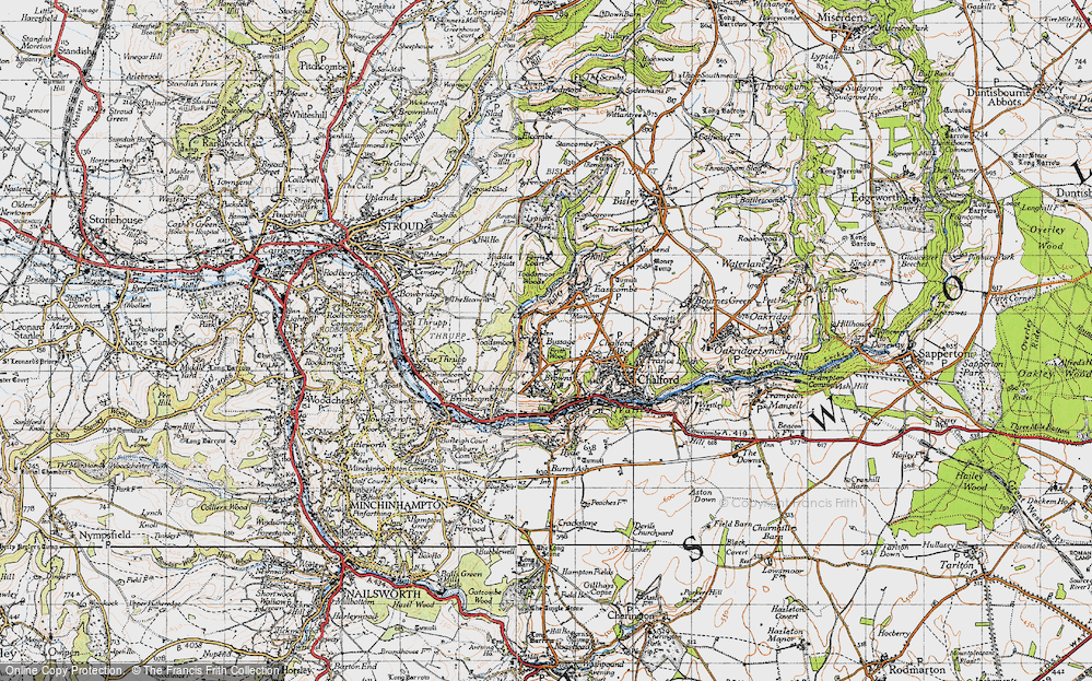 Old Map of Historic Map covering Toadsmoor Woods in 1946