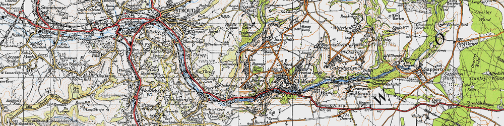 Old map of Toadsmoor Valley in 1946