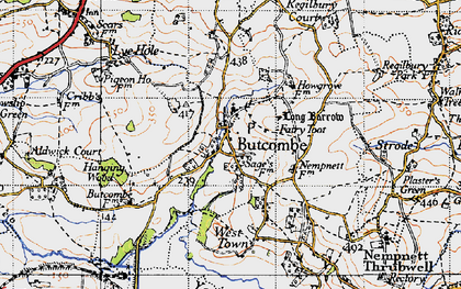 Old map of Butcombe in 1946