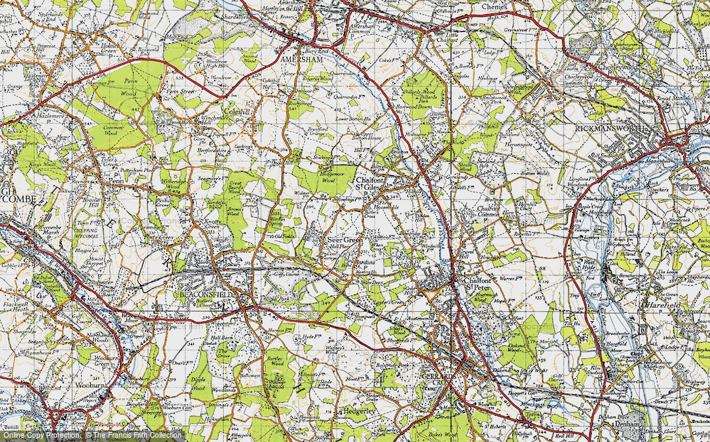 Old Map of Historic Map covering Austens in 1945