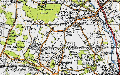 Old map of Butlers Cross in 1945