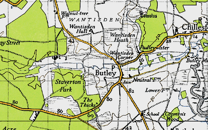 Old map of Butley in 1946