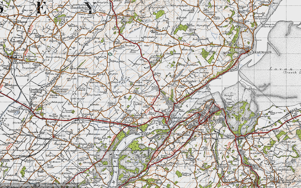 Old Map of Historic Map covering Y Dolydd in 1947