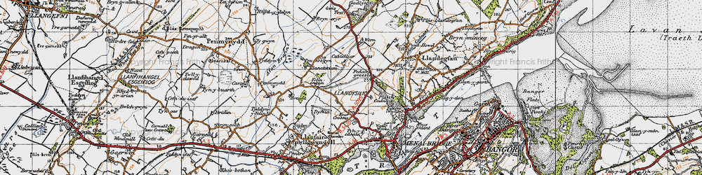 Old map of Y Dolydd in 1947