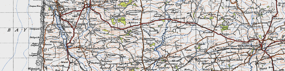 Old map of Thurlibeer in 1946
