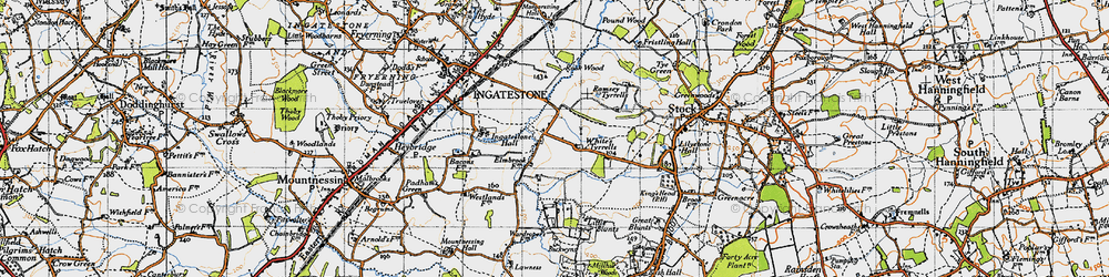 Old map of Tilehurst in 1946