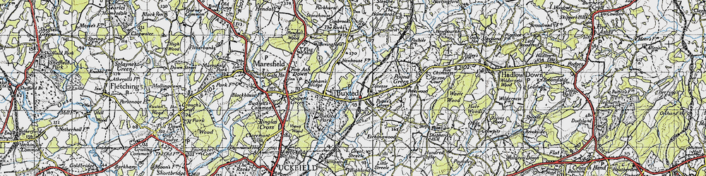 Old map of Buxted in 1940