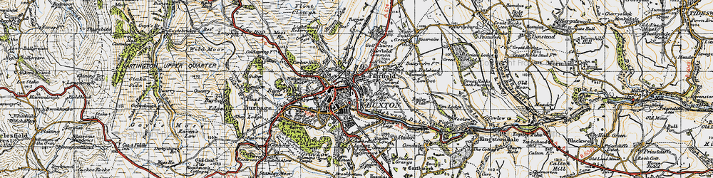 Old map of Buxton in 1947