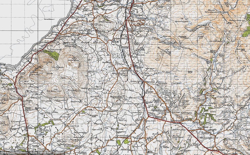 Old Map of Historic Map covering Ynys Hwfa in 1947