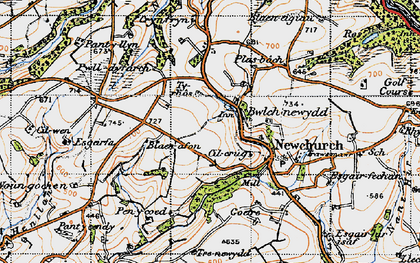 Old map of Bwlch-newydd in 1946