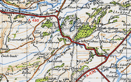 Old map of Afon Cain in 1947