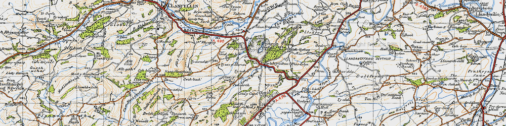 Old map of Allt y Main in 1947