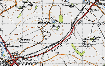 Old map of Bygrave in 1946
