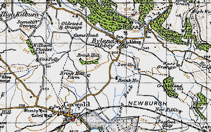 Old map of Byland Abbey in 1947