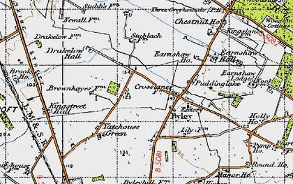 Old map of Yatehouse Green in 1947