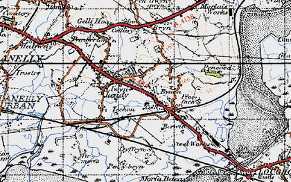 Old map of Bynea in 1947
