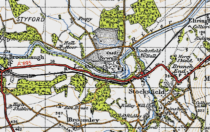 Old map of Bywell in 1947