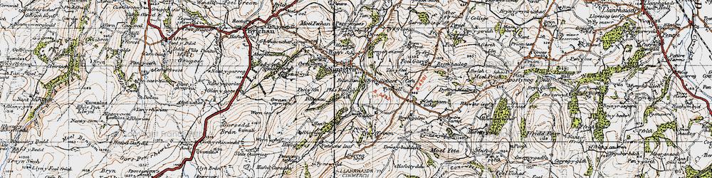 Old map of Tir Mostyn in 1947