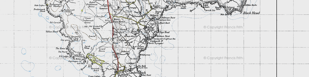 Old map of Cadgwith in 1946