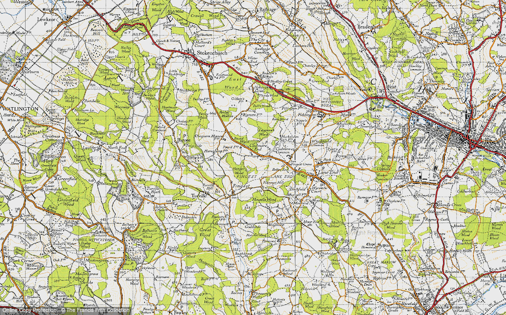 Old Map of Historic Map covering Leygrove's Wood in 1947