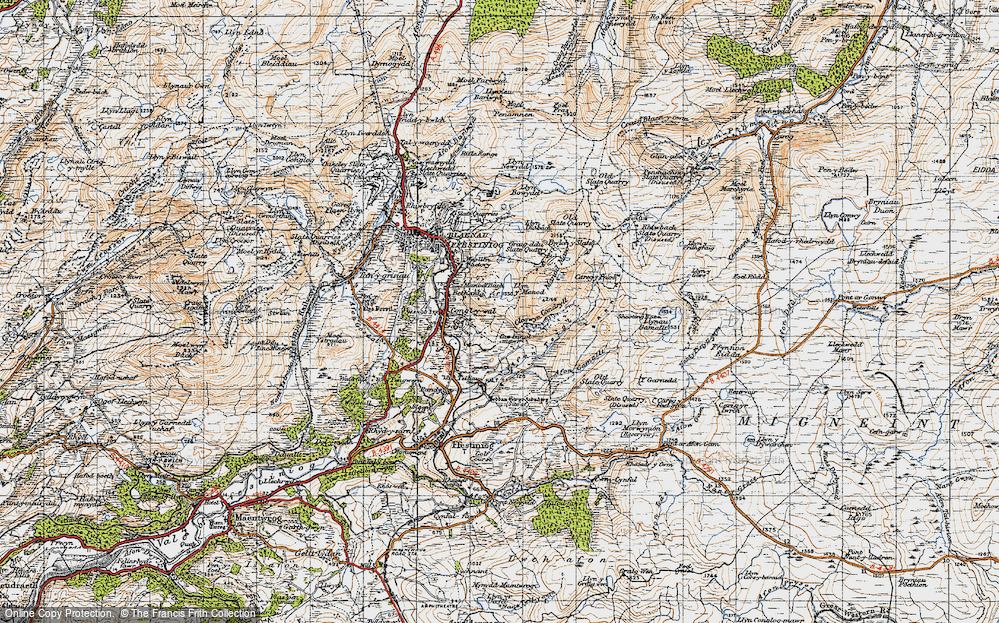 Old Map of Historic Map covering Afon Teigl in 1947