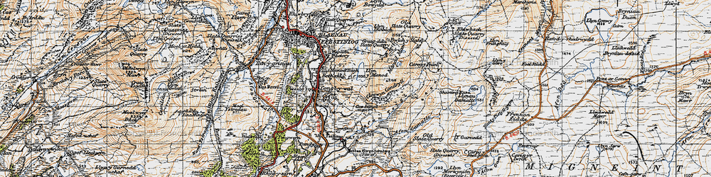 Old map of Afon Teigl in 1947