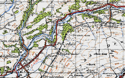 Old map of Cae'r-bont in 1947