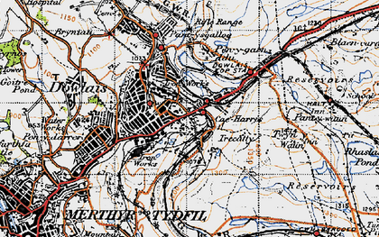 Old map of Caeharris in 1947