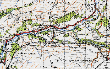 Old map of Caehopkin in 1947