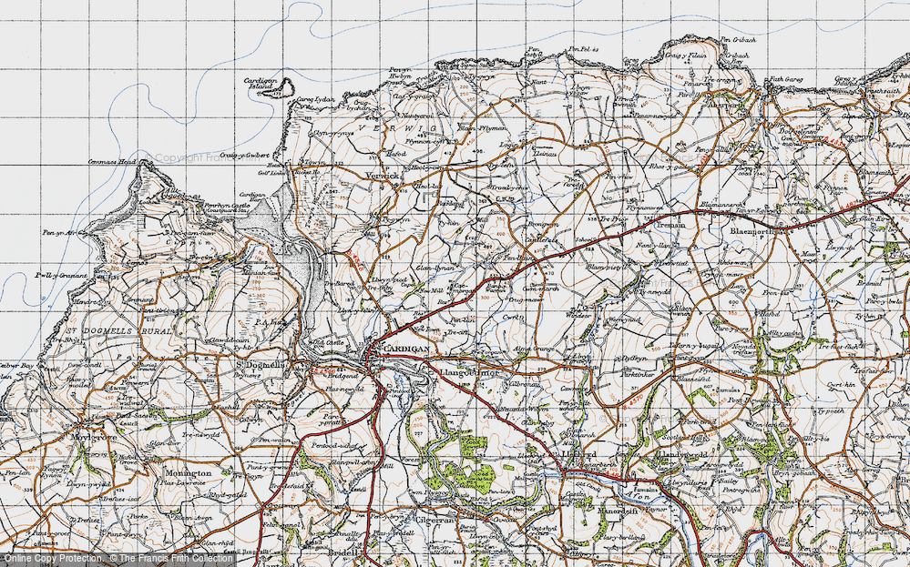 Old Map of Historic Map covering Banc-y-Warren in 1947