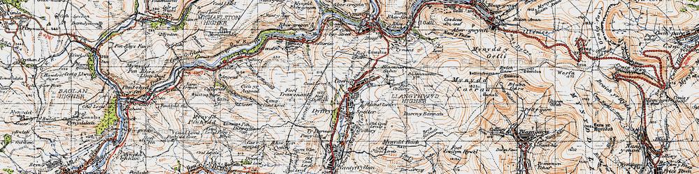Old map of Caerau in 1947