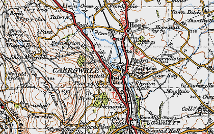 Old map of Caergwrle in 1947