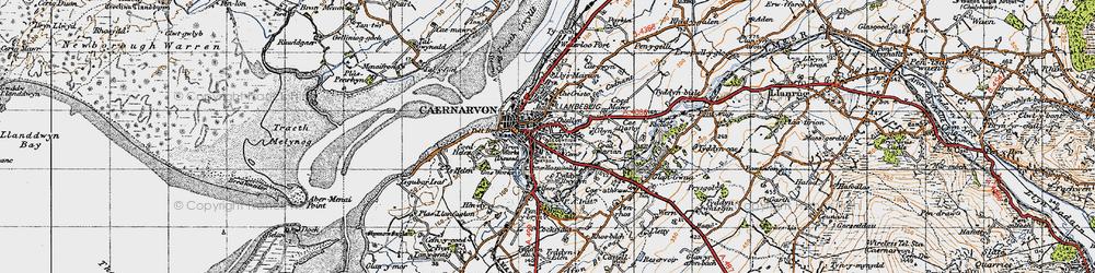 Old map of Caernarfon in 1947