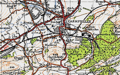Old map of Caerphilly in 1947