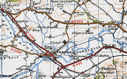 Old map of Caersws in 1947