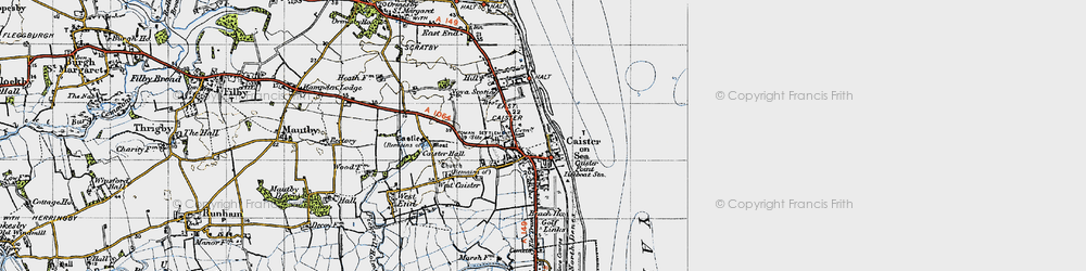 Old map of Caister-on-Sea in 1945