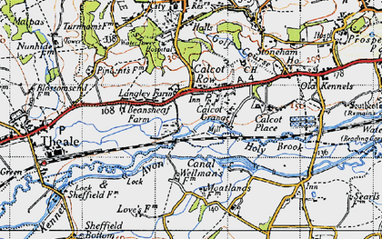 Old map of Calcot in 1945