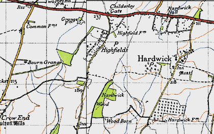 Old map of Caldecote in 1946
