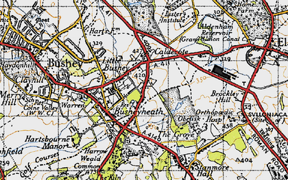 Old map of Caldecote Hill in 1946