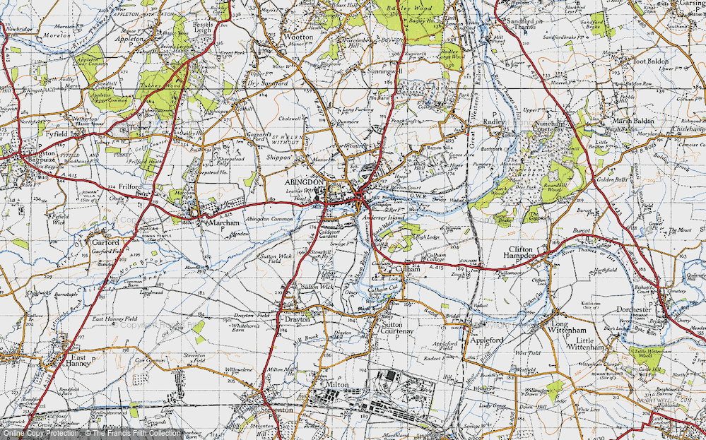 Old Map of Historic Map covering Abingdon Br in 1947
