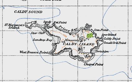 Old map of Caldey Island in 1946