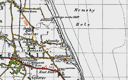Old map of California in 1945