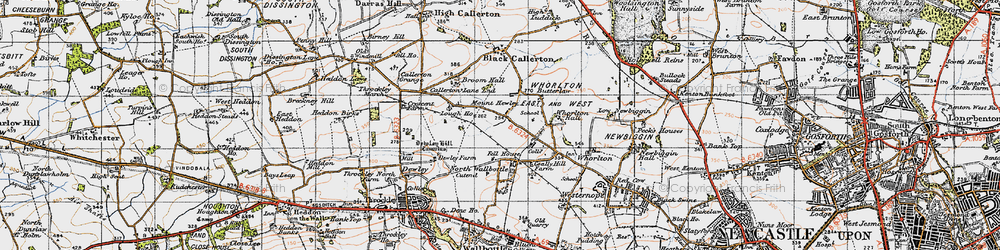 Old map of Whorlton Hall in 1947